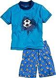 Playshoes Jungen Shorty Single-Jersey Fußball Zweiteiliger Schlafanzug, Blau (Original 900), 92