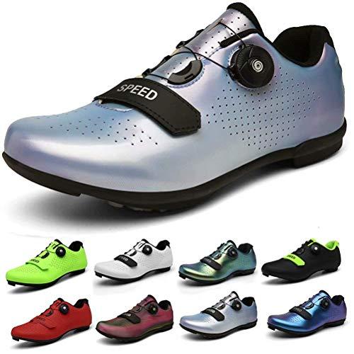 ququer Chaussures de Cyclisme pour Hommes et Femmes, Chaussures de Spinning intérieures Respirantes...