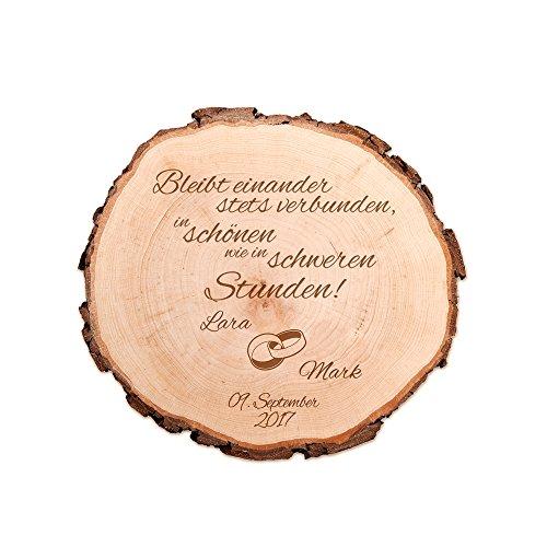 Casa Vivente Baumscheibe mit Gravur – Personalisiert mit Namen und Datum – Motiv Ringe – Dekoration – Türschild – Geschenkidee zur Hochzeit – Hochzeitsgeschenk