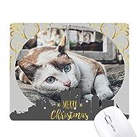 動物のカラフルな猫の写真 クリスマスイブのゴムマウスパッド