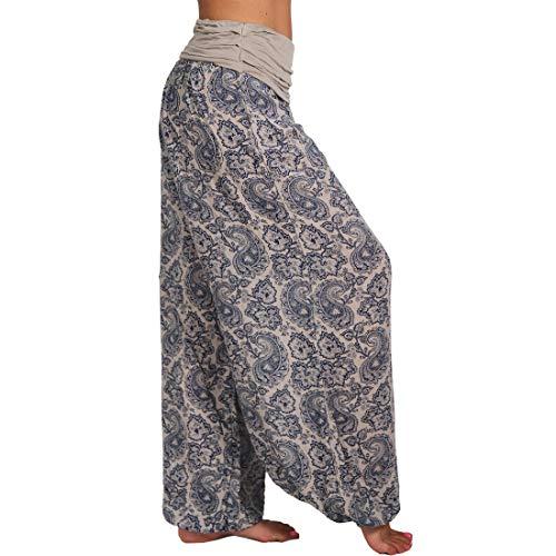 MUYOGRT Damen Pumphose Haremshose Fashion Hippie bunt Batik Baggy Haremshose Patchwork Hippie Haremshose Beiläufig Weite Yoga Bunte Hosen(C#Aprikose,M)
