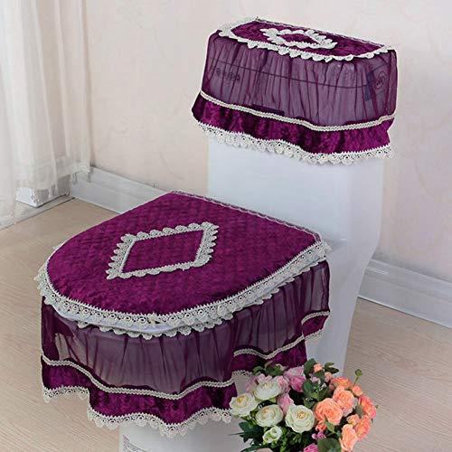 ZNBMTD Set di Tre Pezzi di Pizzo Set Coprivaso di WC Coprivaso A Forma di U Coperchio WC Decorazioni per La Casa Tappetino da Bagno Closestool