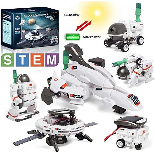 Lehoo Castle Educación Robot Solar Juguetes 6-en-1 Juguete Espacial Alimentado por energía Solar para niños Kits de experimentos científicos DIY Regalo de Ideas educativas
