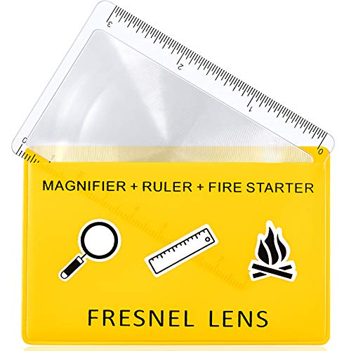 20 Pieces Fresnel Lens Credit Card Pocket Plastic Magnifier Emergency Solar Fire Starter Ruler Compact Survival Bushcraft Classroom Outdoor Hobbies