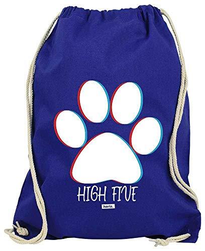 HARIZ Turnbeutel High Five Pfote Groß Hund Herrchen Inkl. Geschenk Karte Royal Blau One Size