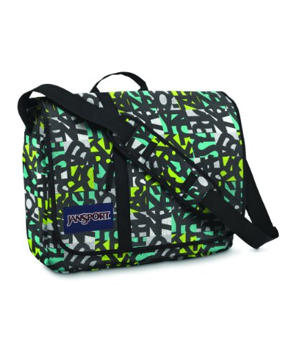 JanSport Classics Series Market St. Messenger Bag (Blinded Blue/Alien Green Jumble Jan)