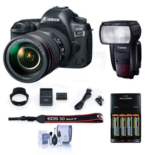Find Bargain Canon EOS 5D Mark IV with EF 24-105mm f/4L is II USM Lens - Bundle Speedlite 600EX II-R...