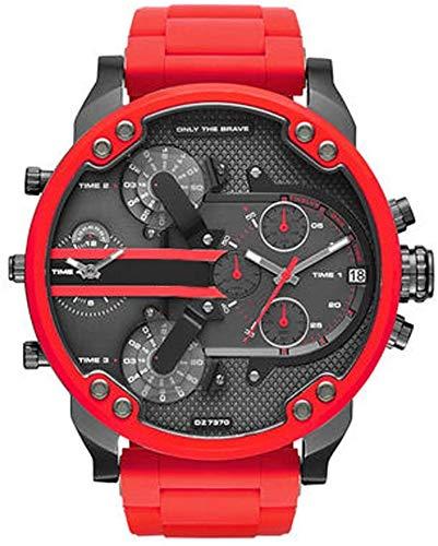 Grandes Relojes Personalidad de la Moda al Aire Libre Ocasionales de Acero Inoxidable Pulsera Reloj de Cuarzo dial de 55mm de los Hombres,G