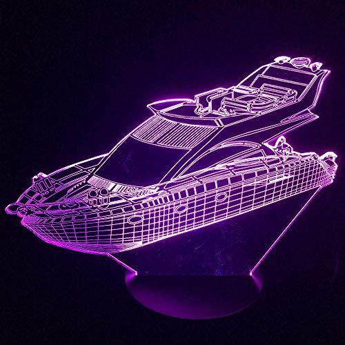 Ilusión 3D Luz Nocturna Lámpara Barco de yate 7 Colores 3 Baterías AA o USB con Acrílico Plano & ABS Base & Cargador usb Adecuado para la decoración infantil de iluminación regalos