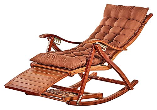 KAFITE Rocking Chair Armchair Lounging Rocker Deck Relaxing Recliner Lounger Seat Bamboo Outdoor& Indoor Furniture Folding Chair For Garden, Lawn, Balcony, Backyard Decking And Patio Porch Rocker