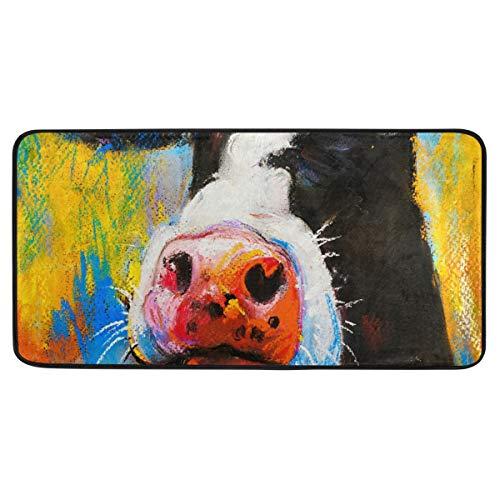 Bardic anti-slip deurmat schattig koe schilderij deurmat machine wasbare slaapkamer mat voor het leven dineren kamer slaapkamer keuken,50.8x99cm