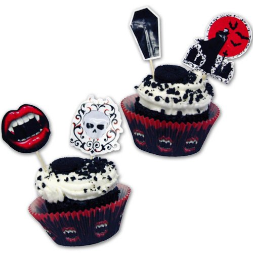 Kit 48 pièces de décoration Patisserie Cupcake Vampire Bite Blood Halloween