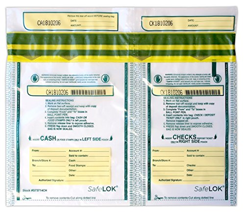 13.5 X 10 SafeLok, Horizontal Twin 100 Deposit Bags