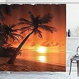 ABAKUHAUS Tropisch Duschvorhang, Twilight Kokosnuss-Palmen, mit 12 Ringe Set Wasserdicht Stielvoll Modern Farbfest & Schimmel Resistent, 175x200 cm, Orange Braun Korallenrot