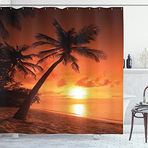 ABAKUHAUS Tropical Cortina de Baño, Crepúsculo Palmas de Coco, Material Resistente al Agua Durable Estampa Digital, 175 x 200 cm, Coral Naranja Brown