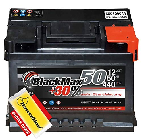 Autobatterie 12V 50Ah BlackMax PKW Batterie statt 44Ah 45Ah 46Ah 47Ah inklusive Polfett