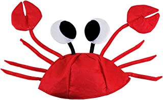 HSOMiD Crab Hat - Novelty 3D Crab Hat with Claws Funny Hat for Party Captain Halloween Masquerade Cosplay Accessories Red