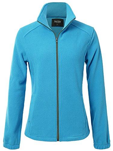 JayJay Women Ultra Soft Breathable Full-Zip Fleece Long Sleeve Jacket,SkyBlue,S