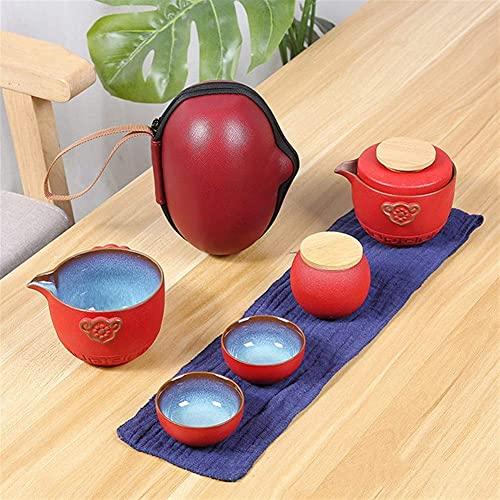 Tetera Japonesa, Experiencia Juego de té de Viaje de Chino Kung Fu Conjunto de Tetera portátil de cerámica Gaiwan Tazas de té de Ceremonia de té Teacup Diseño Remoto de Moda (Color: Aburrido,