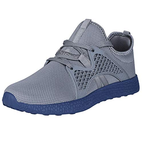 INZCOU Air Knitted Grey and Blue Sneakers Ultra Lightweight Non Slip Athletic Running Walking Tennis Shoes Grey Blue
