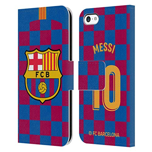 Head Case Designs Officially Licensed FC Barcelona Lionel Messi 2019/20 Players Home Kit Group 1 Leather Book Wallet Case Cover Compatible with Apple iPhone 5c