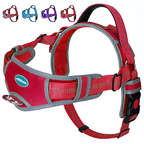 ThinkPet No Pull Harness Breathable Sport Harness - Escape Proof/Quick Fit Reflective Padded Dog Safety Vest with Handle Back/Front Clips, Easy for Walking Training XXL Red