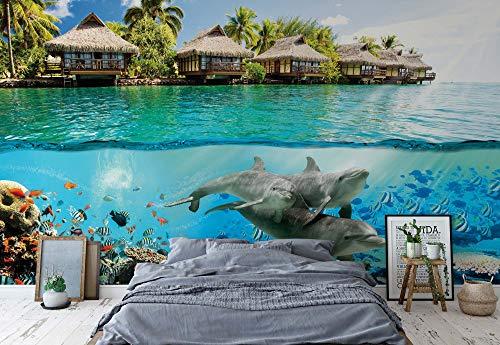 Insel Paradies Ozean Delfine Fische Fototapete Wandbild Fototapeten Bild Tapete VLIES (EasyInstall) (3193WS)