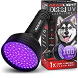 GearLight UV Black Light Flashlight XR98 - Powerful Patented 100 LED Blacklight Flashlights, Pet Stain Detector for Dog Urine, Scorpions, and Bed Bugs - Works with Carpet Odor Eliminator and Remover