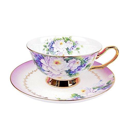 ACOOME - Set di Tazze da tè e caffè con piattino, Tazza di tè in Rilievo smaltato Giallo Fatto a Mano con piattini e Cucchiaio abbinati, 200ml,1 x Tazza,1 x piattino (Porpora)