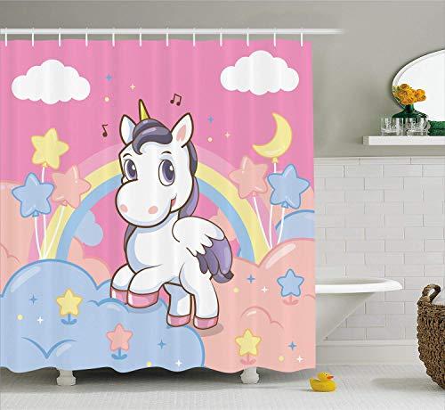 Juegode SDE para niñasdecoración Infantil Unicornio con Rainbow Notasde música Nubes en el Cielo Ilustracionesdecorativas Accesoriosde con Rosa Amarilla