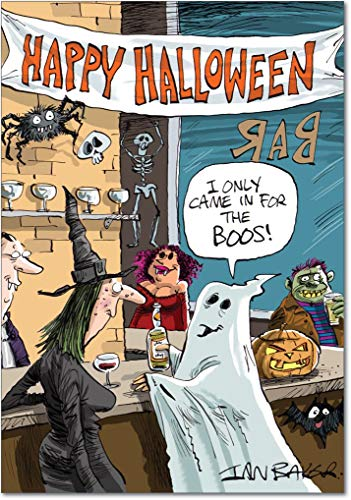 In Bar for Boos - Happy Halloween Card with Envelope (4.63 x 6.75 Inch) - Ghost Pun, Vampire, Witch and Alcohol - Scary Halloween Party Gift 3105