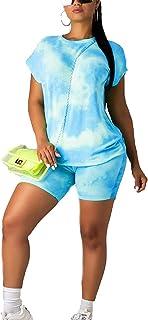 Women Tie Dye Tracksuit 2 Piece Outfits Sweat Suits Short Lounge Set Sleepwear Nightwear Loungewear