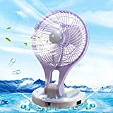 Betzila Powerful Rechargeable High Speed Table Fan with Two Mode Low and High Brightness LED Light And 2 Speed Strong Wind Low Noise table fans for home, table, kitchen, Office (Assorted Color)