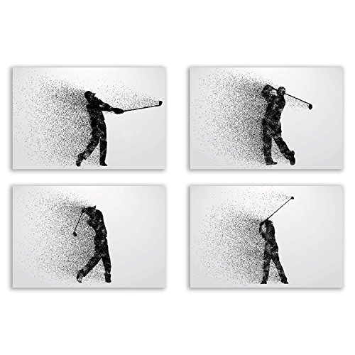 Golf Wall Art Prints - Particle Silhouette – Set of 4 (8x10) Poster Photos - Man Cave - Bedroom Decor