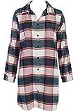By Louise Damen weiches warmes Flanell Nachthemd Sleepshirt Schlafshirt Sleepwear Loungewear, Farbe:Mehrfarbig, Grösse:L - 40
