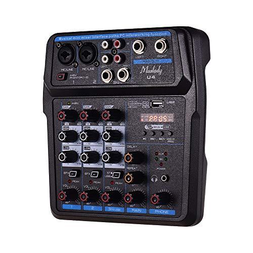Muslady Mezclador de Audio Portátil de 4 Canales BT USB Consola de Mezclas con Tarjeta de Sonido 48V Phantom Power EU Plug Incorporado