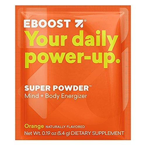 EBOOST Super Powder Energy Drink Mix - 20 Packets, Orange - an Effervescent Blend of Vitamin C, B12, Zinc, Electrolytes, Natural Caffeine, Antioxidants Plus Hydration - Mind, Body Energizer No Sugar