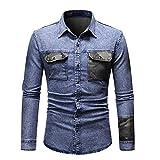 HDDFG Camisa de jeans de primavera para hombres Camisas de manga larga de retazos casuales Camisas de mezclilla para hombres Ropa de calle (Color : Blue, Size : M code)