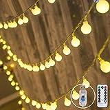 Pulchram warmweiße LED Kugeln Lichterkette 10M 100 LEDs, Globe Lichterketten außen und innen Wasserdicht Batteriebetrieben mit Fernbedienung...