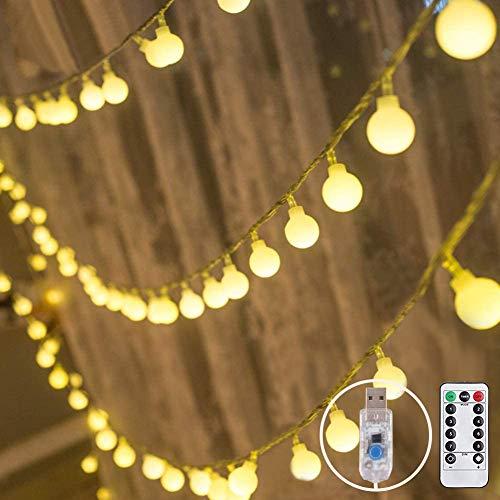 Pulchram warmweiße LED Kugeln Lichterkette 10M 100 LEDs, Globe Lichterketten außen und innen Wasserdicht Batteriebetrieben mit Fernbedienung für Party Hochzeit Garden