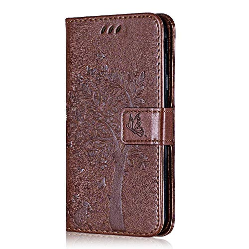 Conber Hülle für Samsung Galaxy A8S, PU Leder Tasche Flip Hülle Lederhülle Handyhülle, Vintage Katze & Baum Schutzhülle für Samsung Galaxy A8S - Kaffee