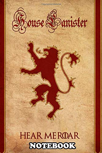 """Notebook: House Lanister Sigil From Game Of Thrones Done In Clas , Journal for Writing, College Ruled Size 6"""" x 9"""", 110 Pages"""