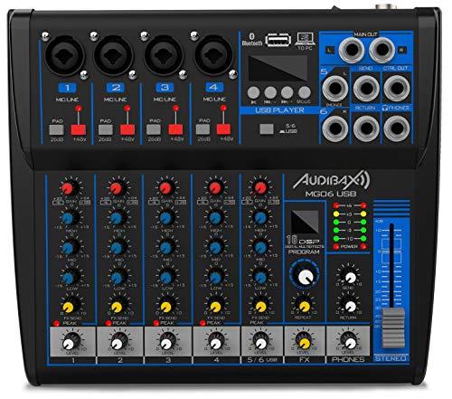 Audibax MG06-USB - Mesa de Mezclas con 6 Canales, con Conexión Bluetooth, Reproductor MP3 y Entrada USB Rec, Mesa Dj con Efectos, Indicador LED, Mesa Mezclas con Varios Controles