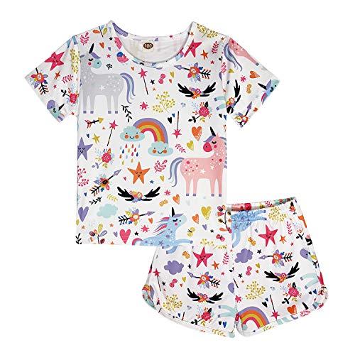 ModaIOO Chicas Unicornio 2 Piezas Conjunto Pijamas Manga Corta(8017,White,130)