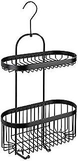 WENKO Serviteur de douche à 2 niveaux Classic Plus noir - Tablette de rangement de douche, panier mural avec protection an...