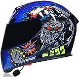 Motorbike Helmet Casco Bluetooth para motocicleta Casco abatible para motocicleta con visor dual antivaho Auriculares con micrófono con altavoz dual incorporado para hombres y mujeres Certificación
