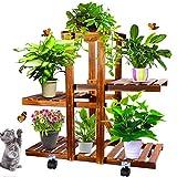 Anzid Wood Plant Stand Indoor Outdoor with Wheels, Multi Tier Plant Display Rack Flower Shelf 26 Inch for Living Room Garden Corner Patio Yard Balcony Bedroom (Brown)