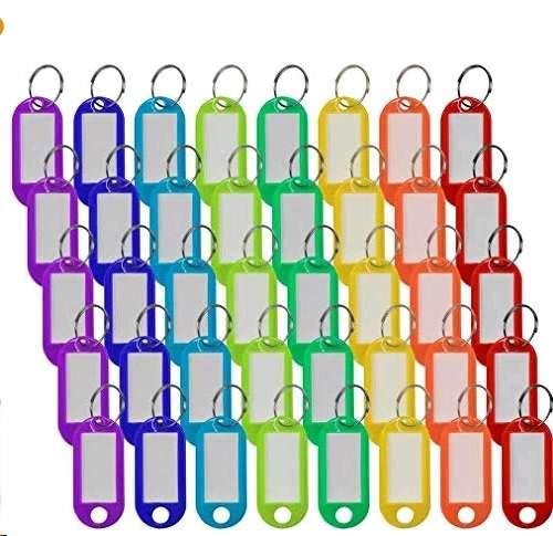 40 Stücke, farbig Schlüsselanhänger mit Ring zum Beschriften Key Tags auswechselbar Schlüsselschilder aus Plastik 8 Farben