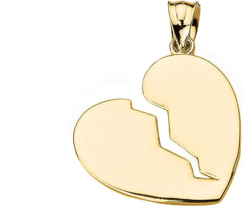 10k Yellow Gold Broken Heart Charm Pendant