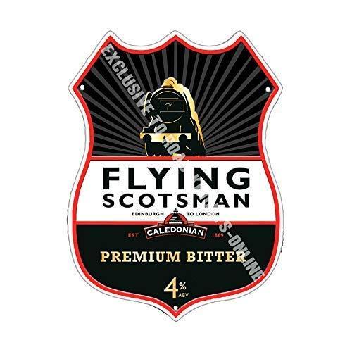 Flying Scotsman Bitter Birra pubblicità Bar Pub Bevanda Pompa Distintivo Brewery Botte Keg Pescaggio Real Ale Pinta Alcohol Luppolo Forma Metallo/Acciaio Insegna - 27 x 20 cm